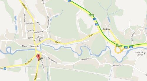 Mapa příjezdu do Tolstého 116 z Liberce po E442 směr Děčín - sjezd Machnín/Stráž nad Nisou
